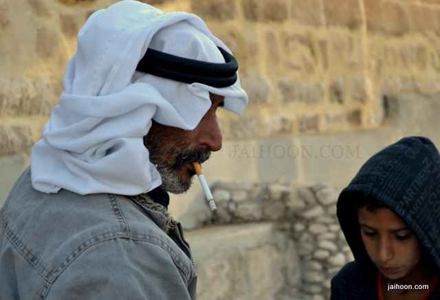 Palestinian father and son at Nabi Musa near Dead Sea