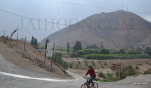 A man riding bicycle at Mount of Temptation
