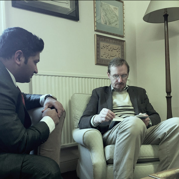 Jaihoon conversing with Timothy Winters (Abdal Hakim Murad), at Cambridge Muslim College