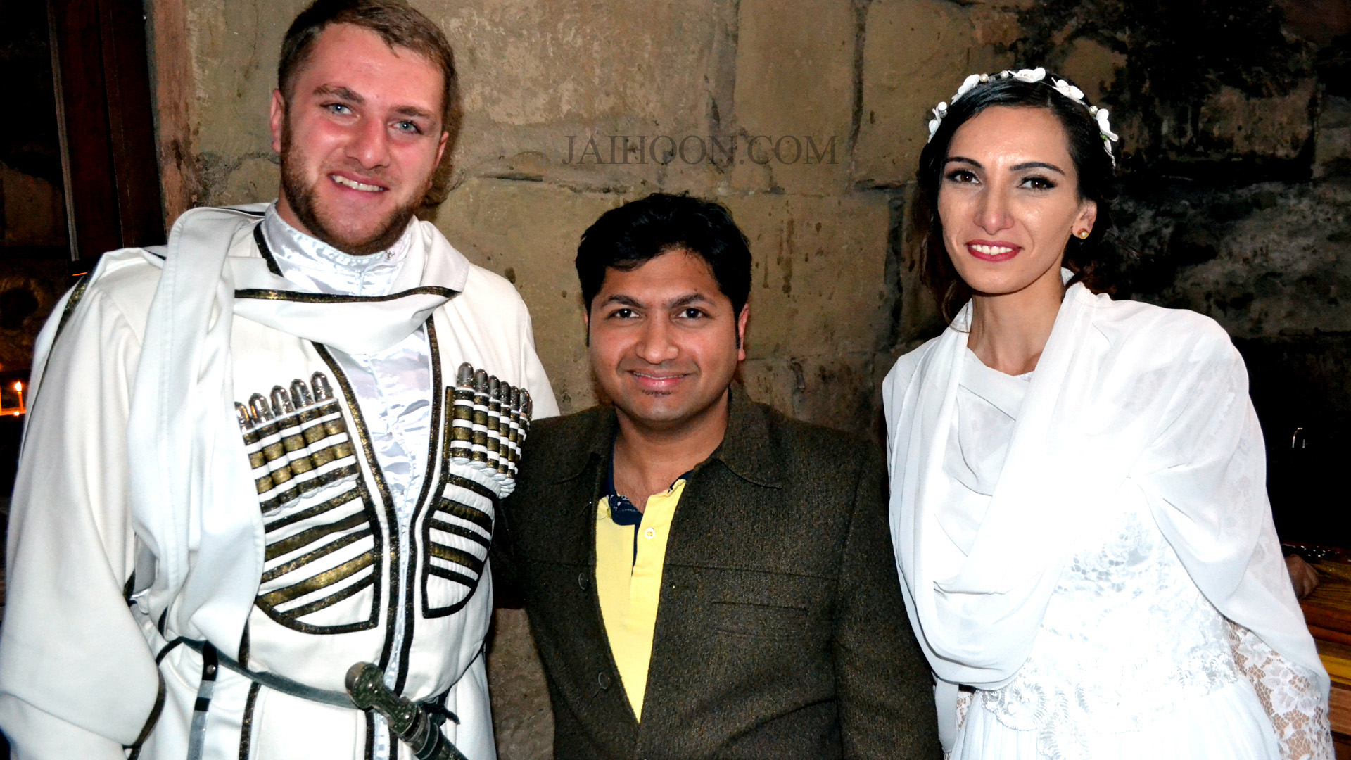 With the newly-wed couple inside the Jvari Monastery