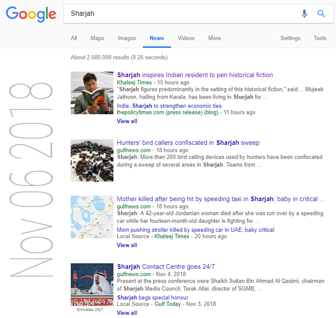Cool Breeze Story Tops for Sharjah in Google News Search (Nov 6 2018)