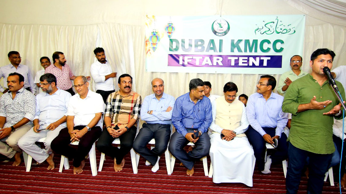 Jaihoon speaking at the Dubai KMCC Iftar gathering