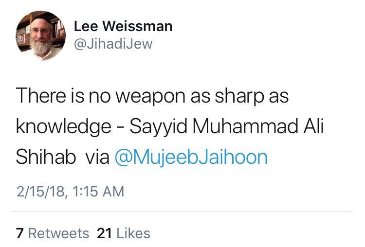 Lee Weissman tweets from Slogans of the Sage