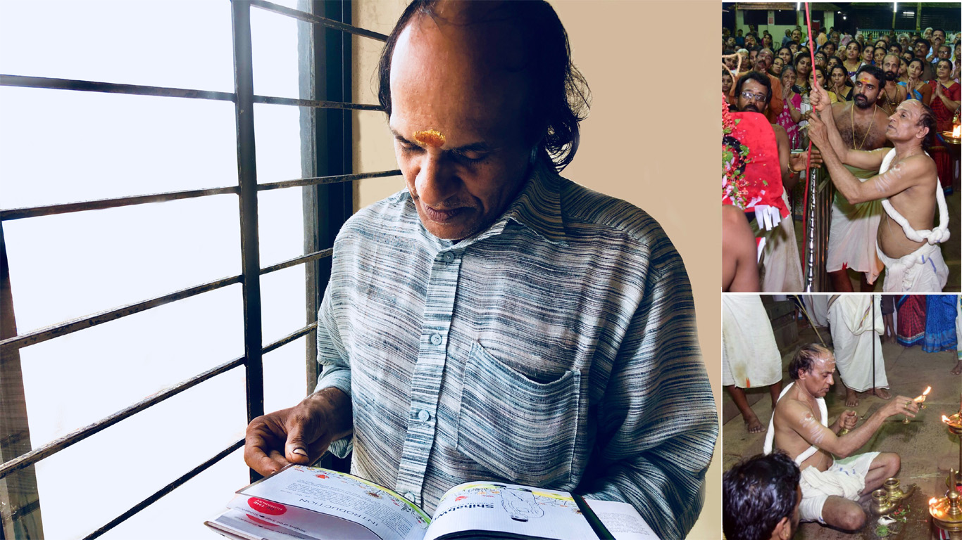 Narayanan Namboothiri, the head priest at Thirumandhamkunnu Bhagavathi Temple-Angadipuram and Urdu language teacher (retired), reading Slogans of the Sage, illustrated coffee table book of aphorisms by Sayyid Shihab Thangal, the late Indian statesman and philanthropist.