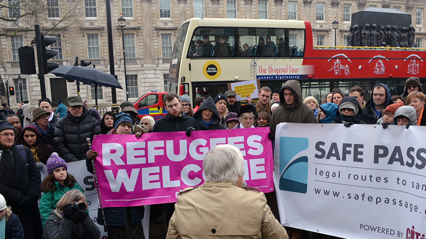 Protest against ending Dubs amendment, Whitehall, London (Feb 11 2017)