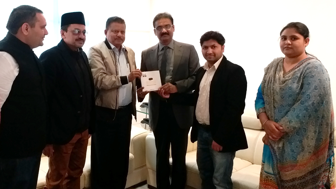 Nov 25, 2017: Presenting copy of 'SLOGANS OF THE SAGE' to ASHOK MITTAL, chancellor of LOVELY PROFESSIONAL UNIVERSITY, in the presence of prominent leaders of Indian Union Muslim League including Sayyid Sadiqali Shihab, Abdul Wahab MP and Munavvar Ali Shihab, and Swapan Deep Kaur , Tahseeldar (District official), Phagwara District, Punjab.