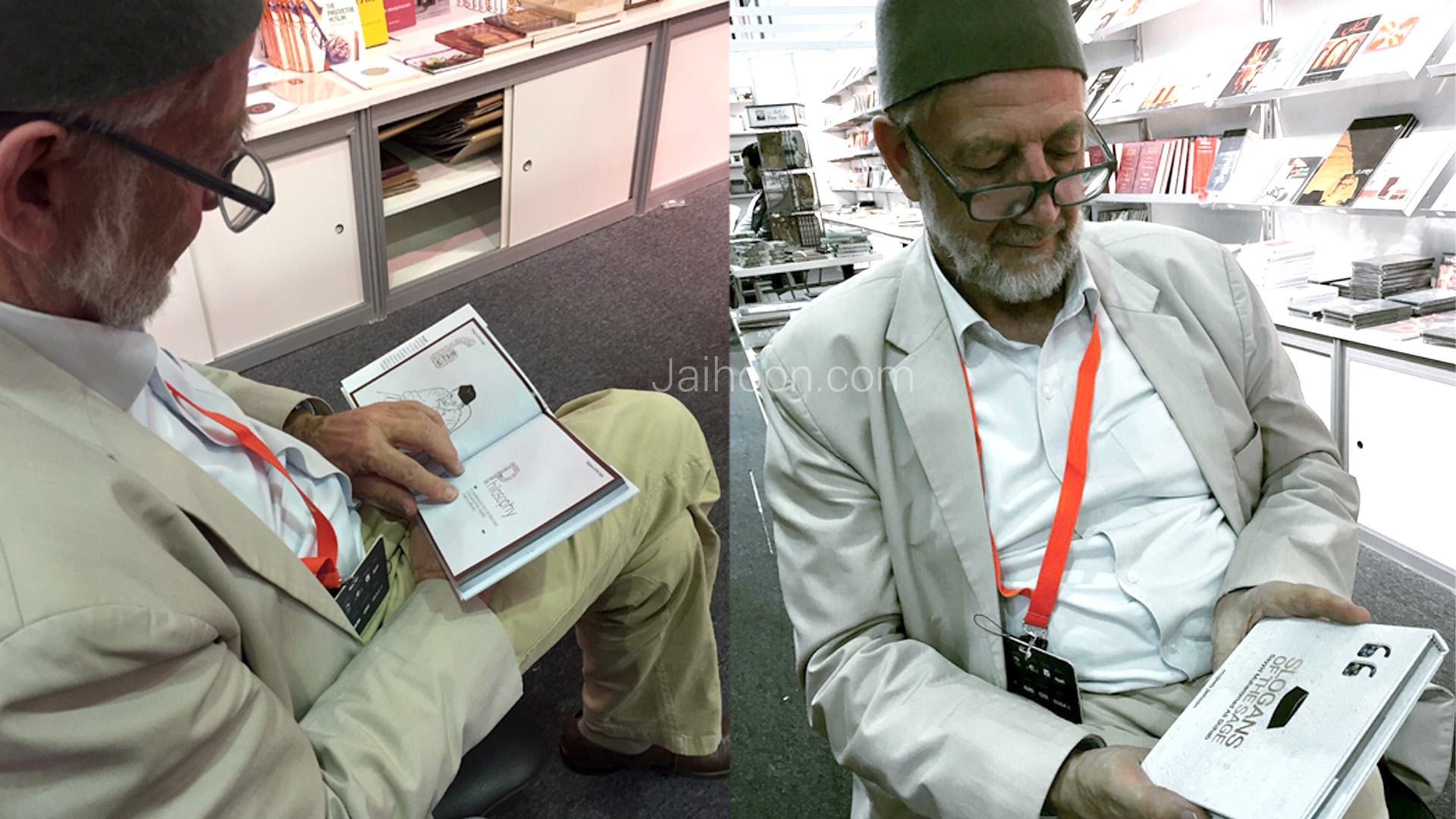 Idris Mears, prominent British book seller, reading through Slogans of the Sage, at Sharjah International Book Fair 2017