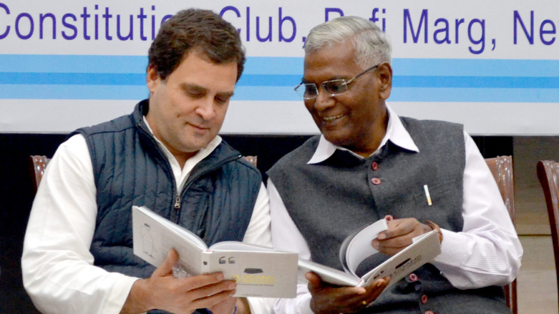 Rahul Gandhi reading Slogans of the Sage, collection of aphorisms by Sayyid Shihab Thangal