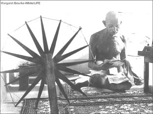 Gandhi on the wheel